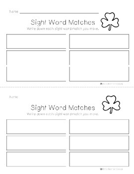 Preprimer Shamrock Sight Word Memory Game