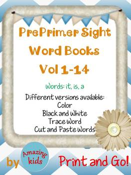 Preprimer Sight Word Books Vol 1-14 Bundle