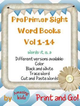 Preprimer Sight Word Books Vol 1-14 Bundle