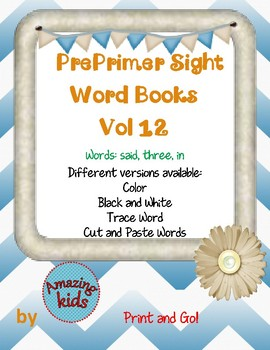 Preprimer Sight Word Books Vol 12