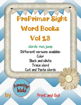 Preprimer Sight Word Books Vol 13