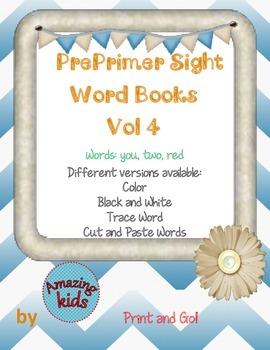 Preprimer Sight Word Books Vol 4