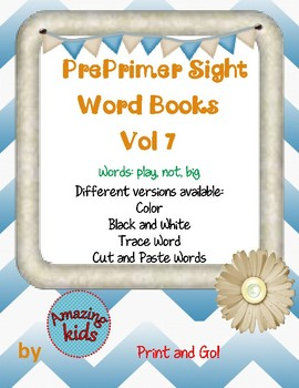 Preprimer Sight Word Books Vol 7