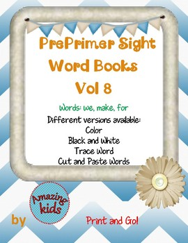 Preprimer Sight Word Books Vol 8
