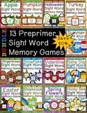 Preprimer Sight Word Memory Game Year Long BUNDLE {50% Savings}