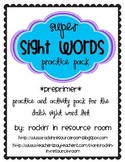 Preprimer Sight Word Pack with Power Point Practice Game!