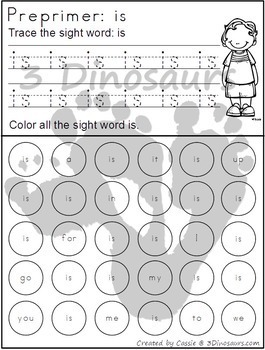 Preprimer Sight Word Trace & Find the Word