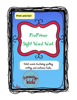 Preprimer Sight Word Work