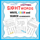 Preprimer Sight Word Write, Color, and Search