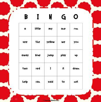 Preprimer Sight Words Bingo