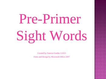 Preprimer Sight Words Powerpoint