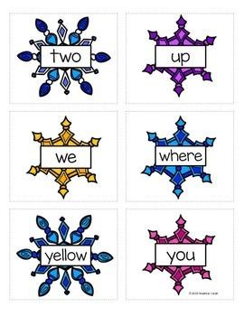 Preprimer Snowflake Sight Word Memory Game
