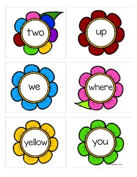 Preprimer Spring Flowers Sight Word Memory Game