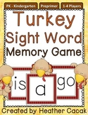 Preprimer Turkey Sight Word Memory Game