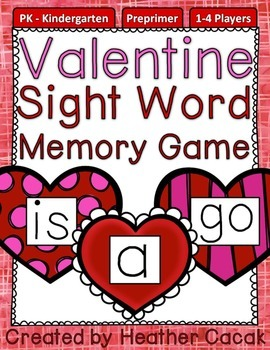 Preprimer Valentine Sight Word Memory Game