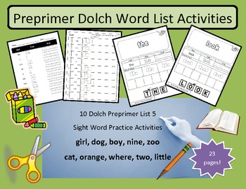 Preprimer dolch word list #5 - 10 words practice activity