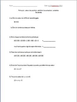 Préquiz et quiz: valeur de position, addition/soustraction