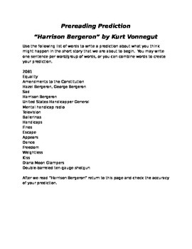 "Prereading - ""Harrison Bergeron"""