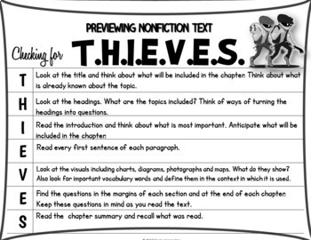 Prereading Strategy for Nonfiction Texts- THIEVES