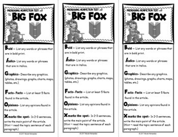 Before Reading Strategy for Nonfiction Texts- BIG FOX