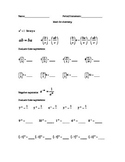 Prerequisite Math Concepts for Chemistry - Worksheet