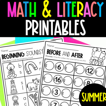 Summer Packet Math and Literacy
