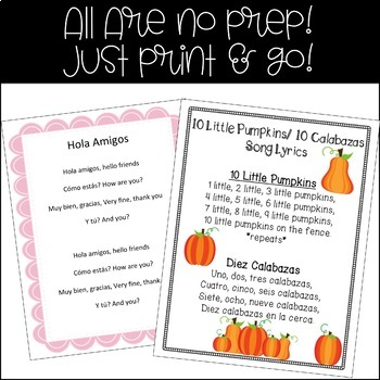 Preschool-1st Grade Spanish Song Bundle