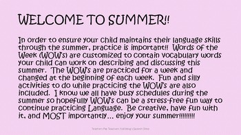 Preschool- 1st Grade Summer Practice: Vocabulary **UPDATED FOR SUMMER 2017!!***
