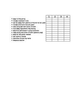 Preschool 2-3 Year Old Report Card Progress Report