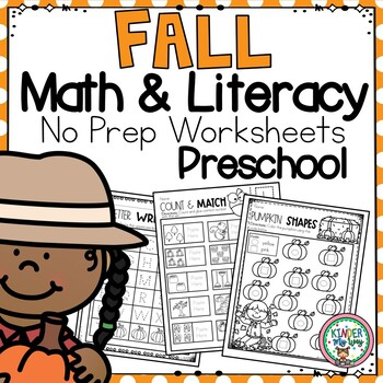 Preschool Fall Math and Literacy Packet - NO PREP