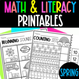 Spring Math and Literacy Packet | Spring Printables {Preschool}