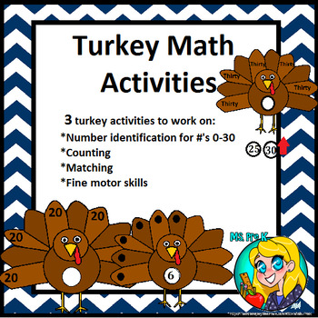 Preschool- 3 Turkey Math Activities