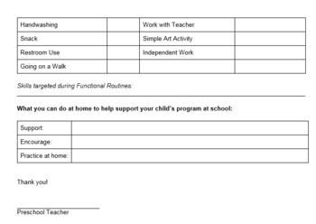 Preschool ABA Progress Report for Parents