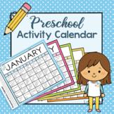 Preschool Activity Calendar