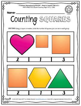 Preschool Squares - Weekly Unit for Preschool, PreK or Homeschool