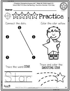 Preschool Stars - Weekly Unit for Preschool, PreK or Homeschool