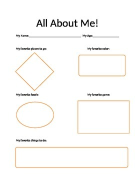 Preschool All About Me Worksheet Activity