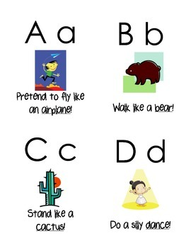 Preschool Alphabet Movement Cards