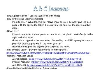 Preschool Alphabet lesson & crafts