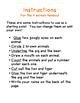 Preschool- Animal Instructions