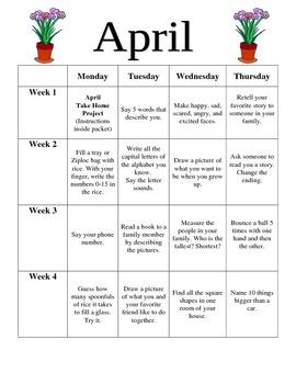 Preschool April Homework