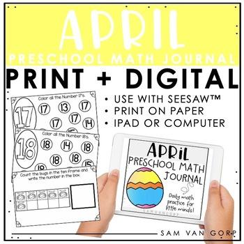 Preschool April Math Journal