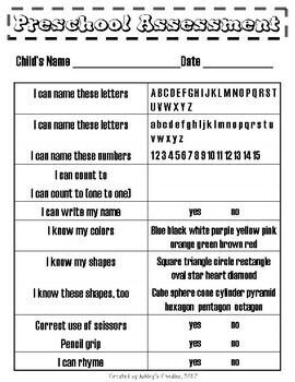Preschool Assessment (short form)