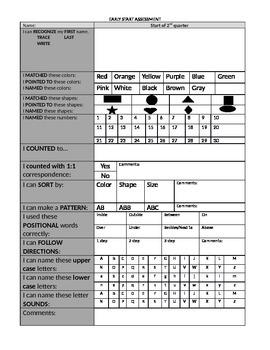 Preschool Assessment Checklist