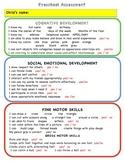 Preschool Assessment Form