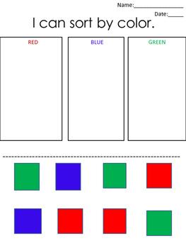 Preschool Assessment-Sort by Color, Shape, Size
