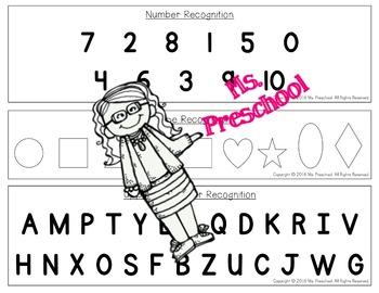 Preschool Assessment Task Cards