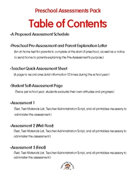 Preschool Assessments Pack: A Year-Long Plan Includes Actual Tests & Scripts