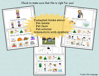Adapted Books & Picture Activities for Autism and Speech/Language- PETS