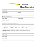 Preschool Back to School Questionnaire